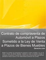 Contrato de  compraventa de automóvil a plazos sometido a la Ley de Venta a Plazos de Bienes Muebles